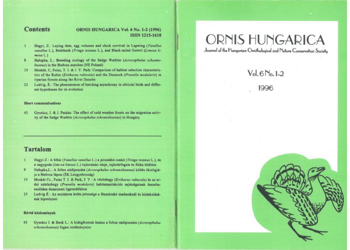 Ornis Hungarica 1996